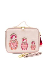 So Young Linen Lunch Box, Pink Embroidered Dolls