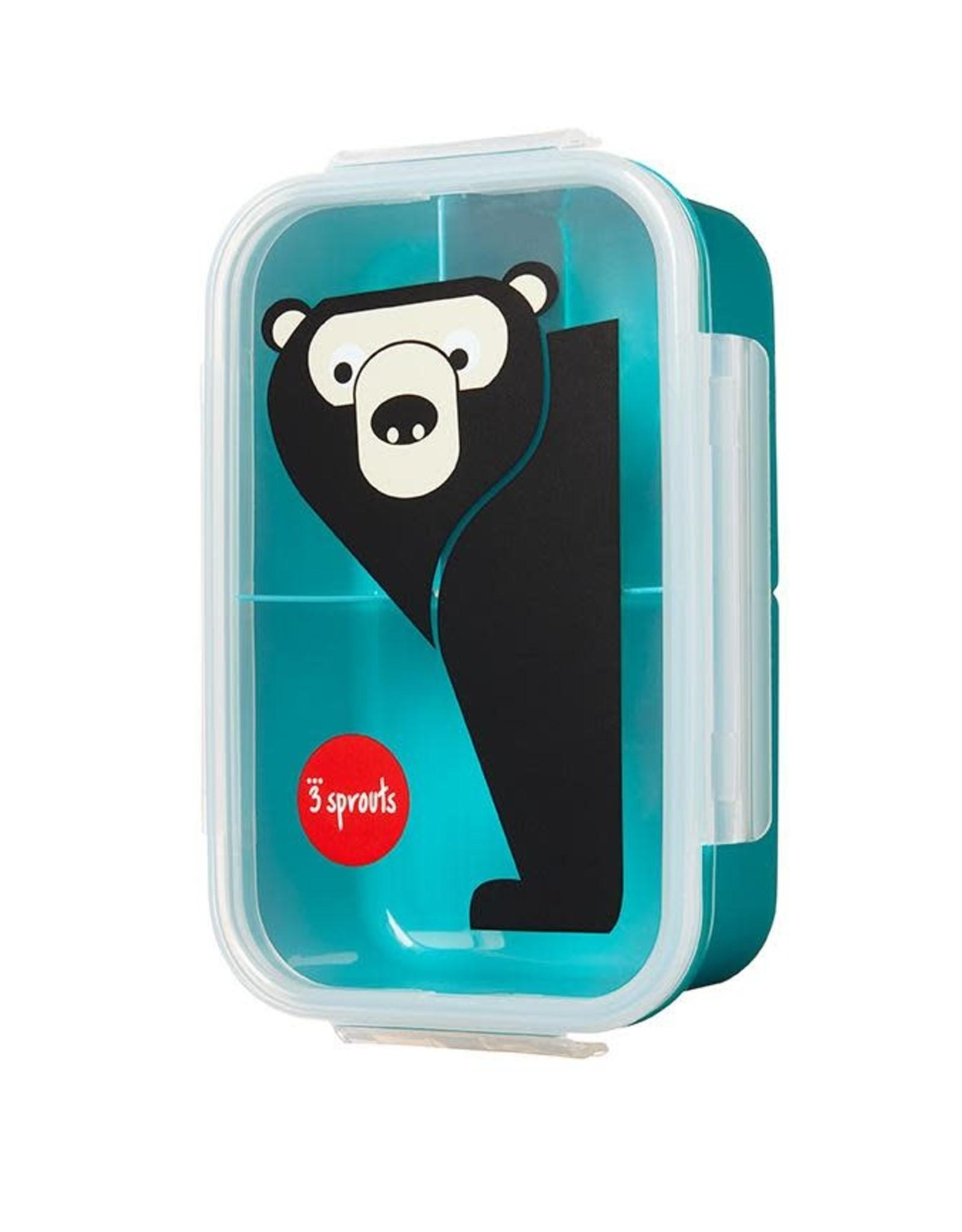 3 Sprouts Bento Box, Teal Bear