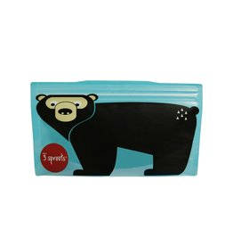 3 Sprouts Snack Bag 2pk, Teal Bear