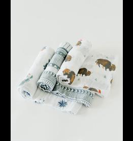 Little Unicorn, LLC Cotton Muslin Swaddle 3 Pk, Bison