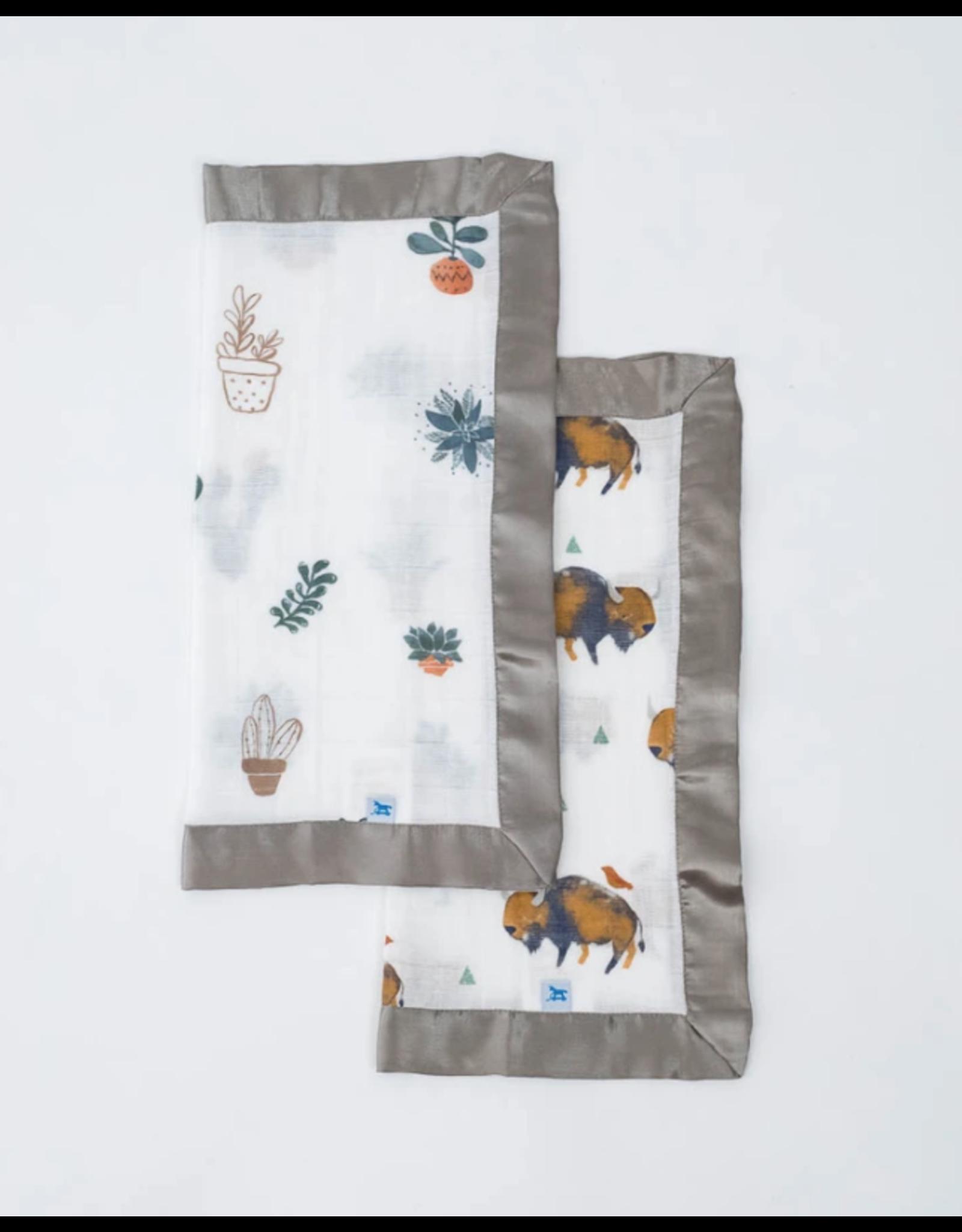Little Unicorn, LLC Cotton Muslin Security Blanket 2 Pack, Bison