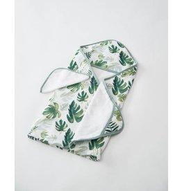 Little Unicorn, LLC Cotton Hooded Towel & Washcloth Set, Tropical Leaf
