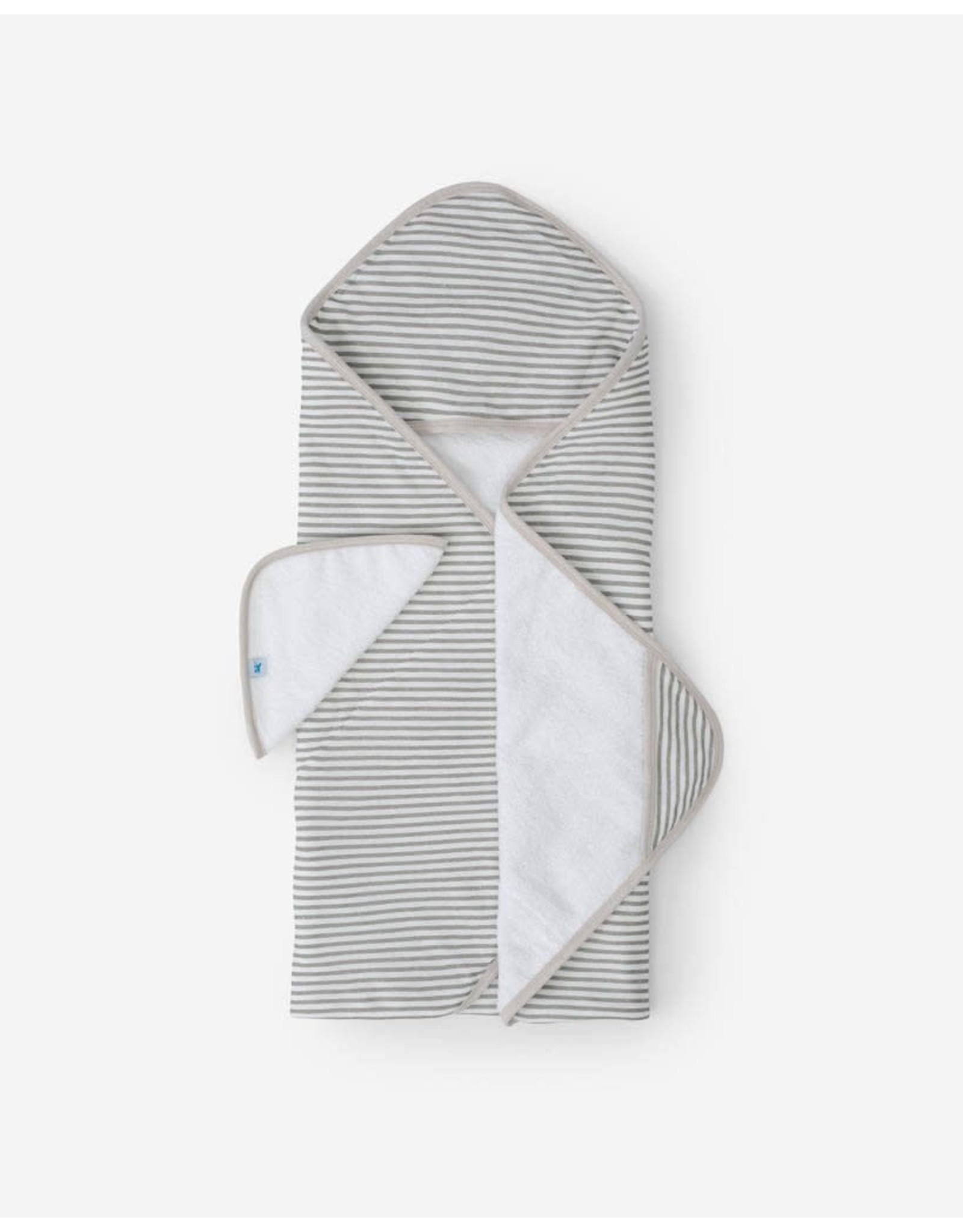 Little Unicorn, LLC Cotton Hooded Towel & Washcloth Set, Grey Stripe