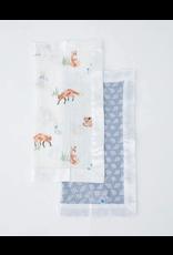 Little Unicorn, LLC Cotton Muslin Security Blanket 2 Pack, Fox & Blue Grass