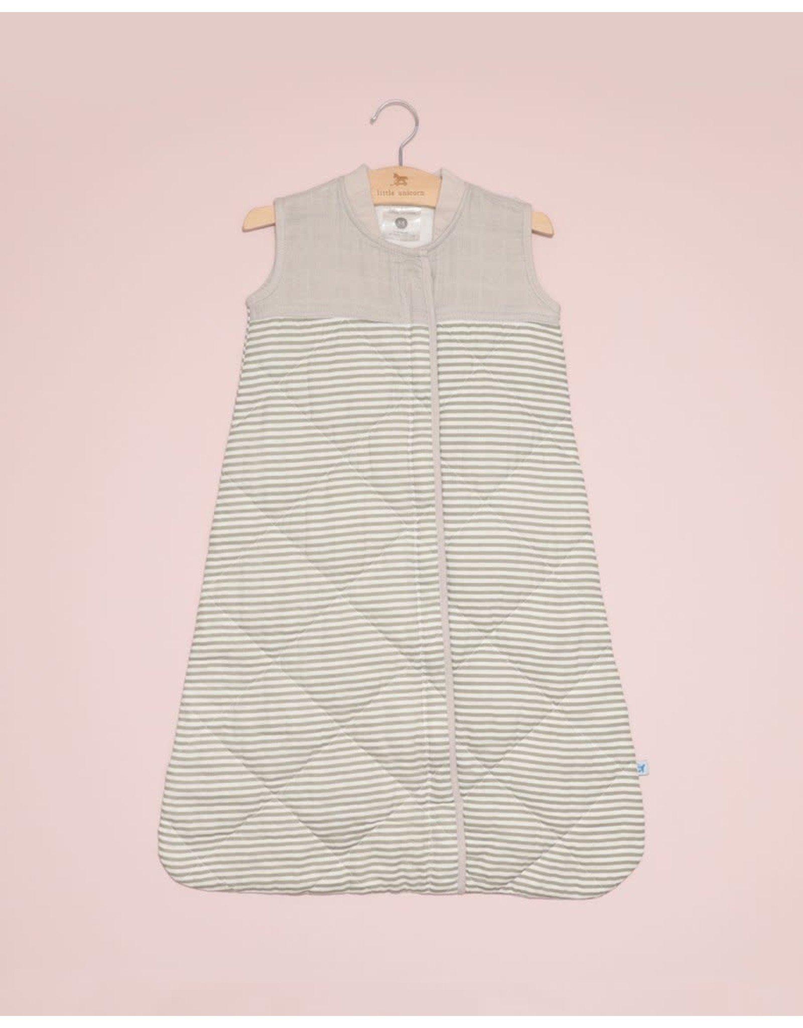 Little Unicorn, LLC Cotton Muslin Quilted Sleep Bag, Large, Grey Stripe