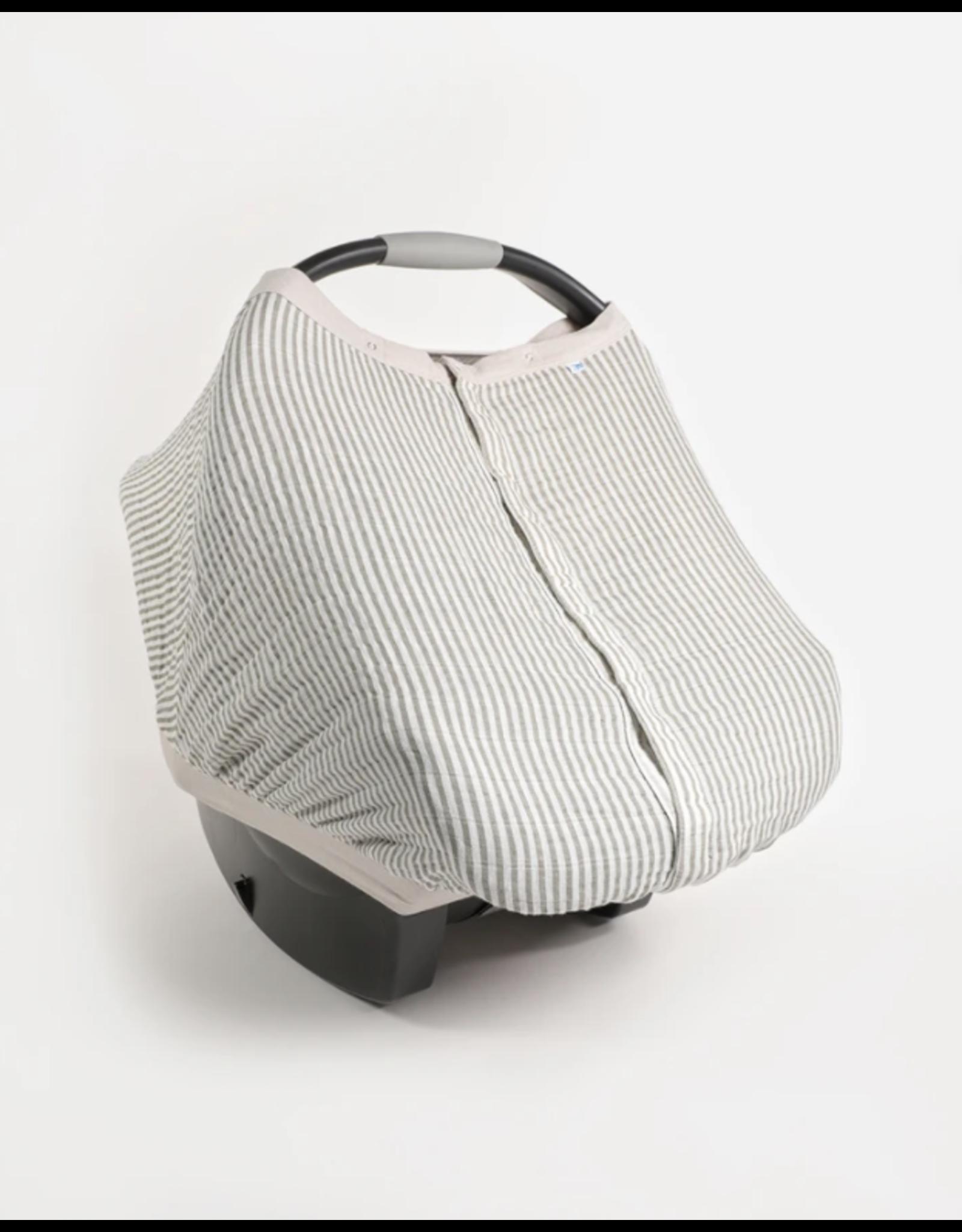 Little Unicorn, LLC Cotton Muslin Car Seat Canopy, Grey Stripe