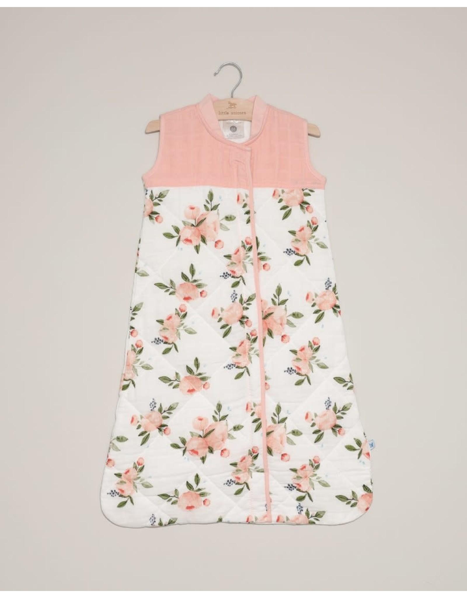 Little Unicorn, LLC Cotton Muslin Quilted Sleep Bag, Medium, Watercolor Roses