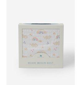 Little Unicorn, LLC Deluxe Muslin Baby Quilt, Rainbows & Raindrops
