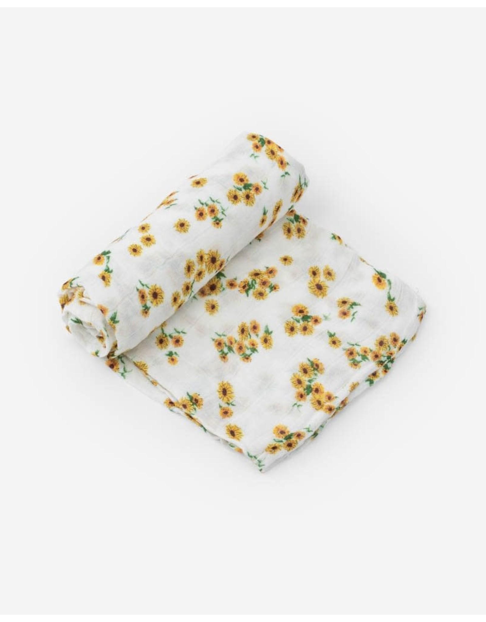 Little Unicorn, LLC Deluxe Muslin Swaddle Singe, Ditsy Sunflower