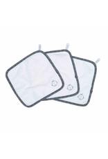 Juddlies Bamboo Washcloths 3 pack, White & Lake Blue