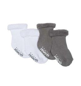 Juddlies Infant Socks, 2 pairs, Grey & White