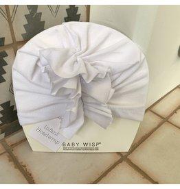 Baby Wisp Baby Wisp Ruffles HeadWrap Hat, White