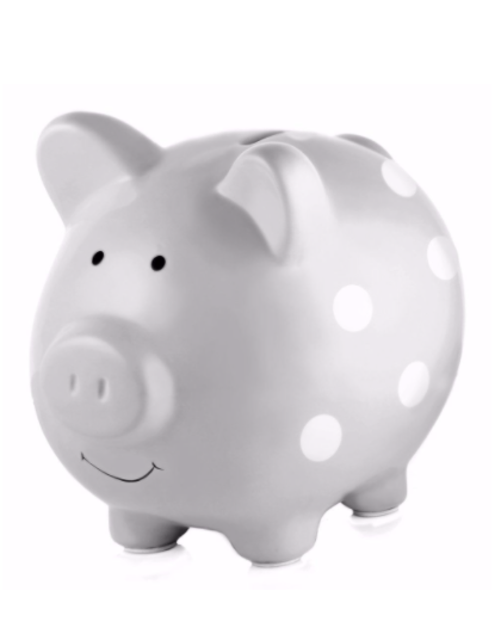 Pearhead Ceramic Piggy Bank, Grey Polka Dots