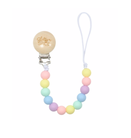Glitter and Spice Pacifier Clip Rainbow