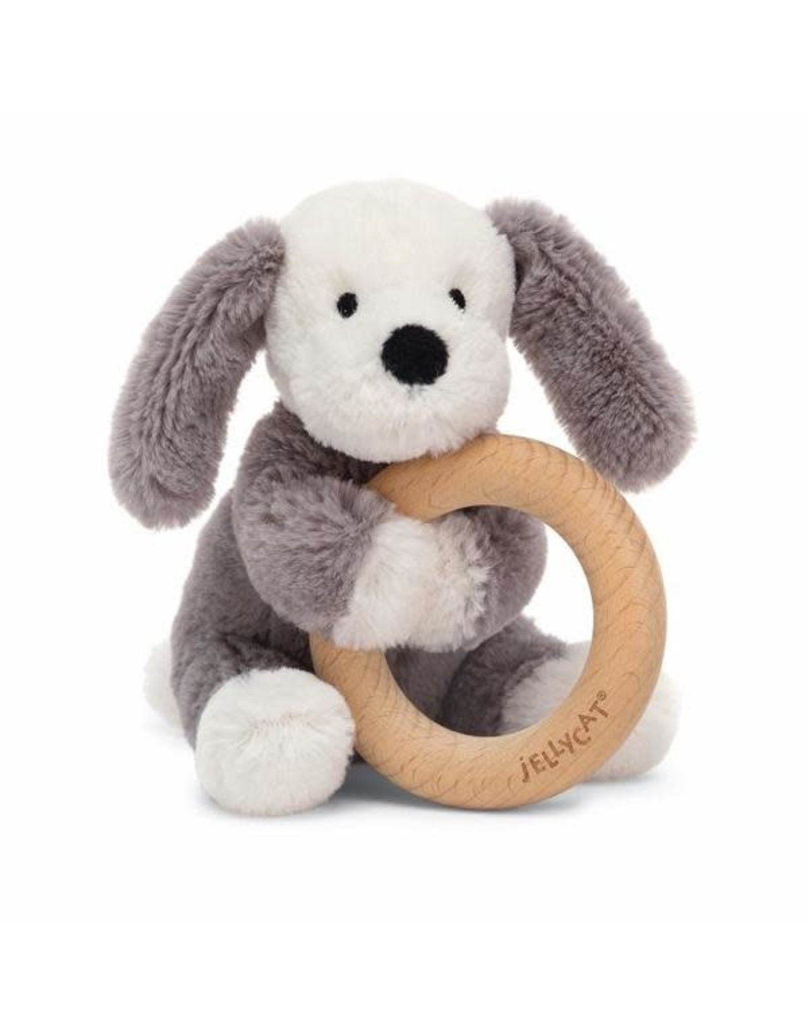 Jelly Cat Smudge Puppy Wooden Ring Toy