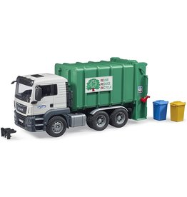 Bruder Toys America Inc MAN TGS Rear Loading Garbage Recycling Truck Green