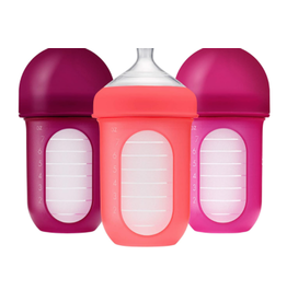Boon Nursh Silicone Bottle 8oz, 3 Pack Pink Multi