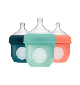 Boon Nursh Silicone Bottle 4oz, 3 Pack Mint/Canta