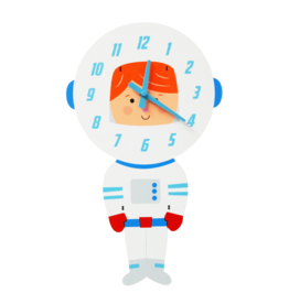 REX London Astronaut Wooden Wall Clock