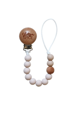 Glitter and Spice Pacifier Clip Sand