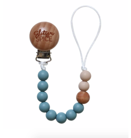 Glitter and Spice Pacifier Clip Steel Blue