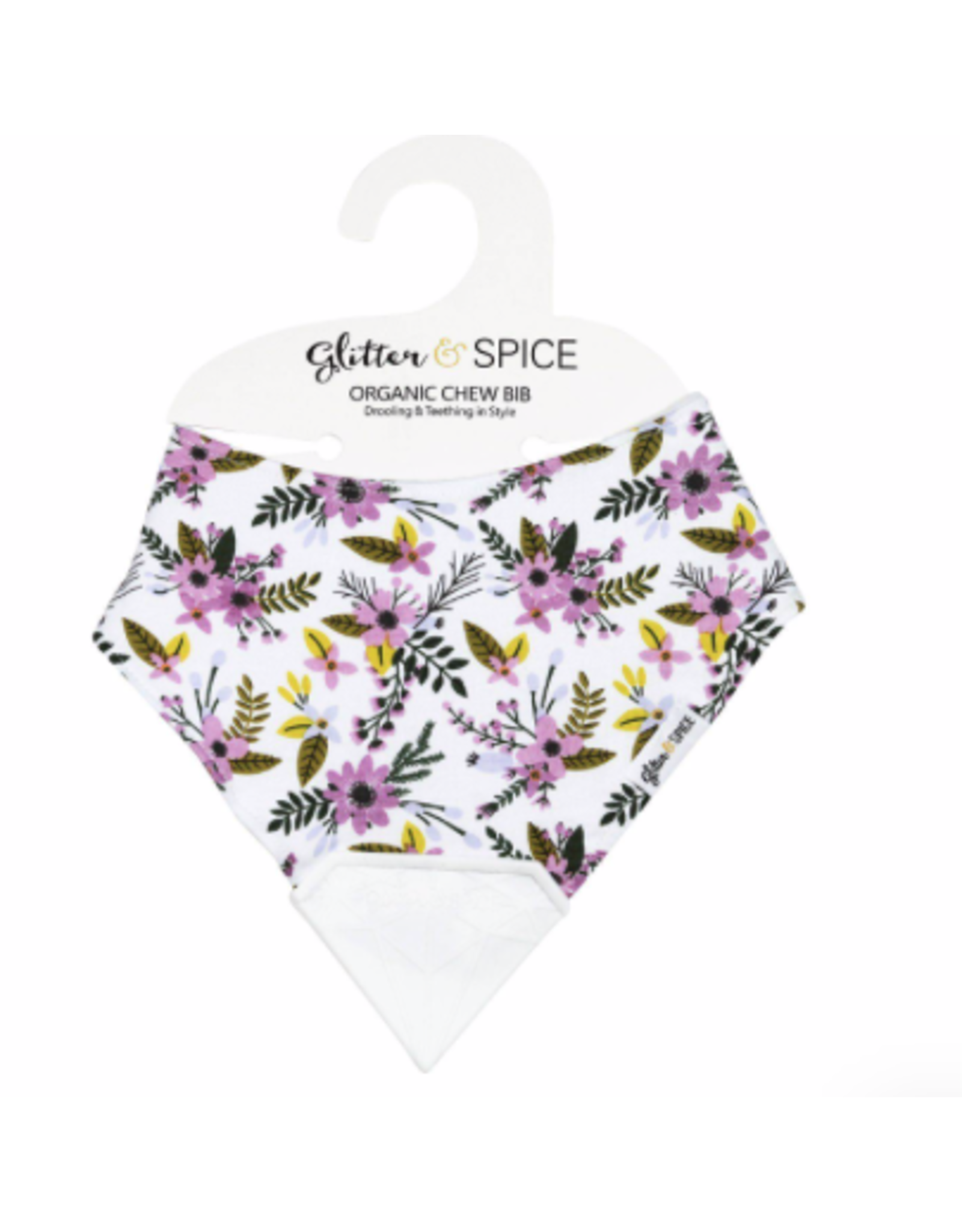 Glitter and Spice Chew Bib Periwinkle Blooms