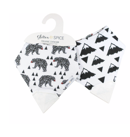 Glitter and Spice Double Sided Chew Bib, Smokey Bear/Everest