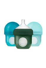 Boon Nursh Silicone Bottle 4oz, 3 Pack Blue Multi