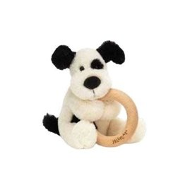Jelly Cat Bashful Black & Cream Puppy Wooden Ring Toy