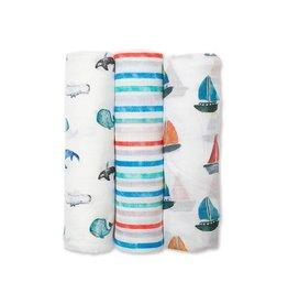 Lulujo Baby Lulujo 3pk Swaddle Blanket, Out At Sea