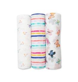 Lulujo Baby Lulujo 3pk Swaddle Blanket, Garden Friends
