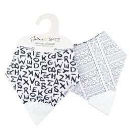 Glitter and Spice Double Sided Chew Bib, A to Z/Mudcloth