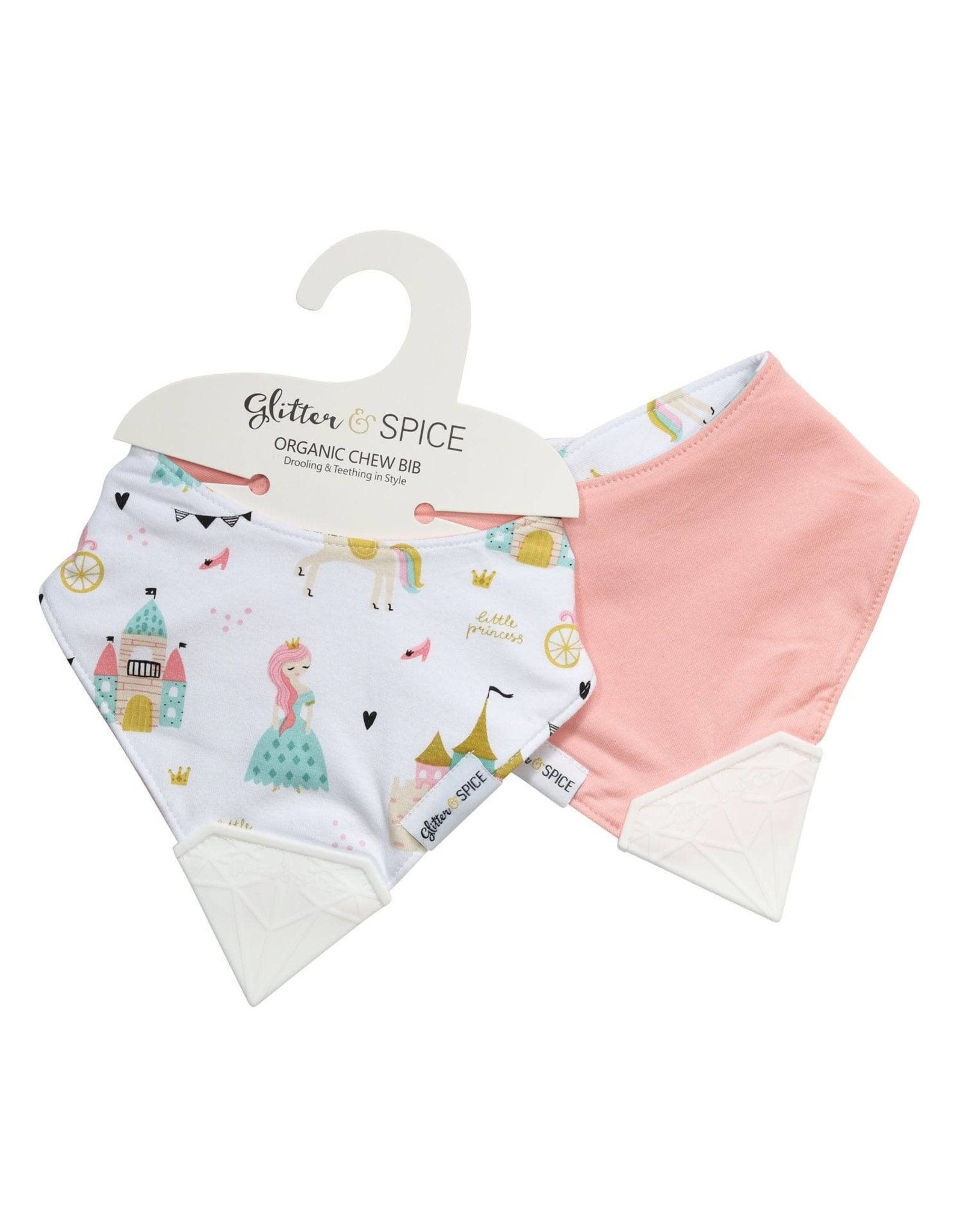 Glitter and Spice Double Sided Chew Bib, Enchanted Kingdom/Forever Pink
