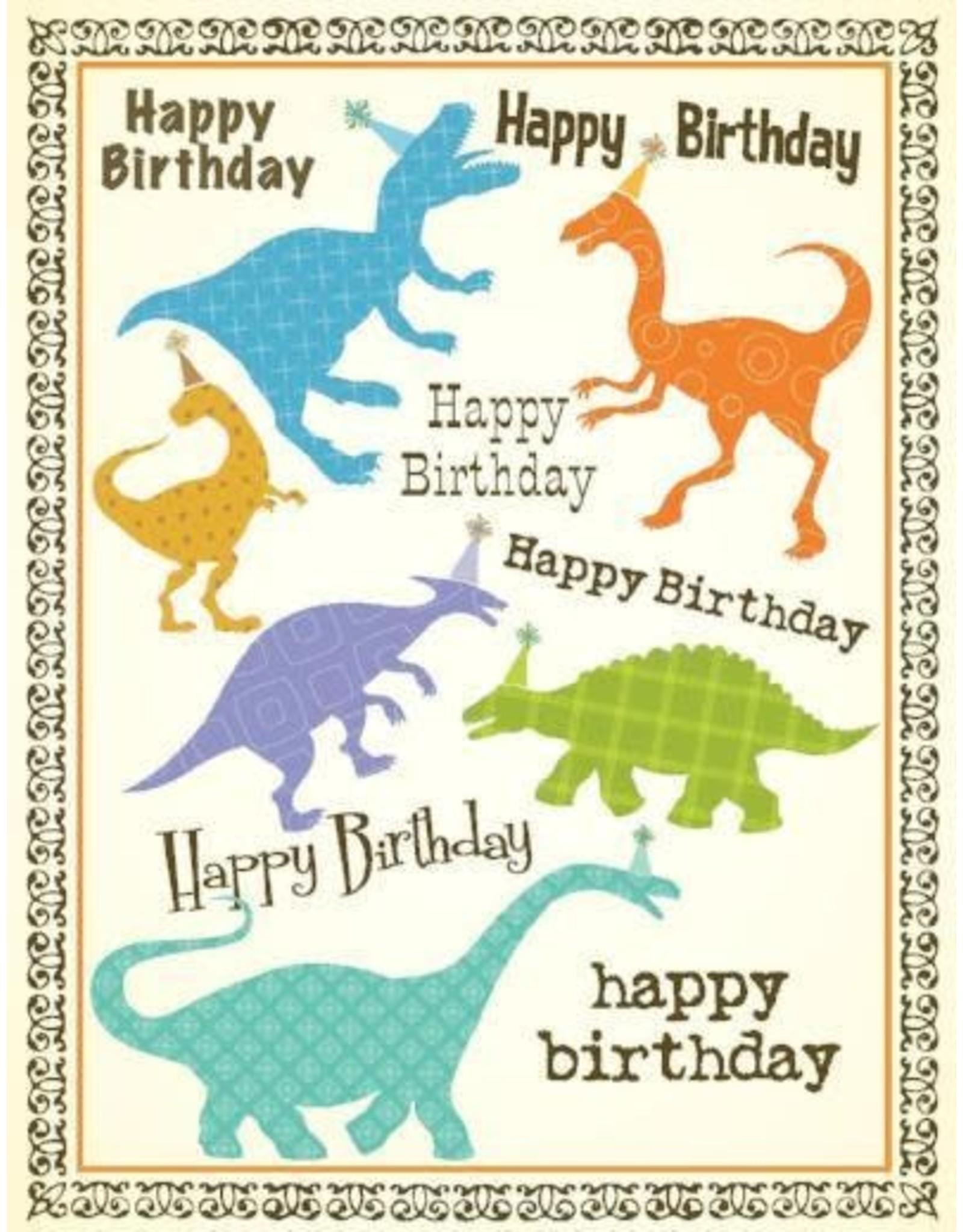 Yellow Bird Paper Greetings Dinosaur Birthday Card
