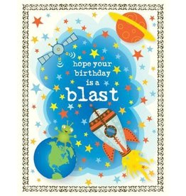 Yellow Bird Paper Greetings Space Blast Birthday Card