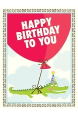 Yellow Bird Paper Greetings Alligator Balloon Card