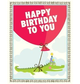 Yellow Bird Paper Greetings Alligator Balloon Card