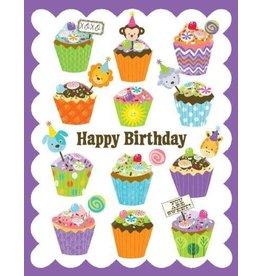Yellow Bird Paper Greetings Cupcakes Glitter Card