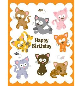 Yellow Bird Paper Greetings Kittens Glitter Birthday Card