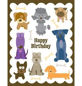 Yellow Bird Paper Greetings Dogs Glitter Birthday Card
