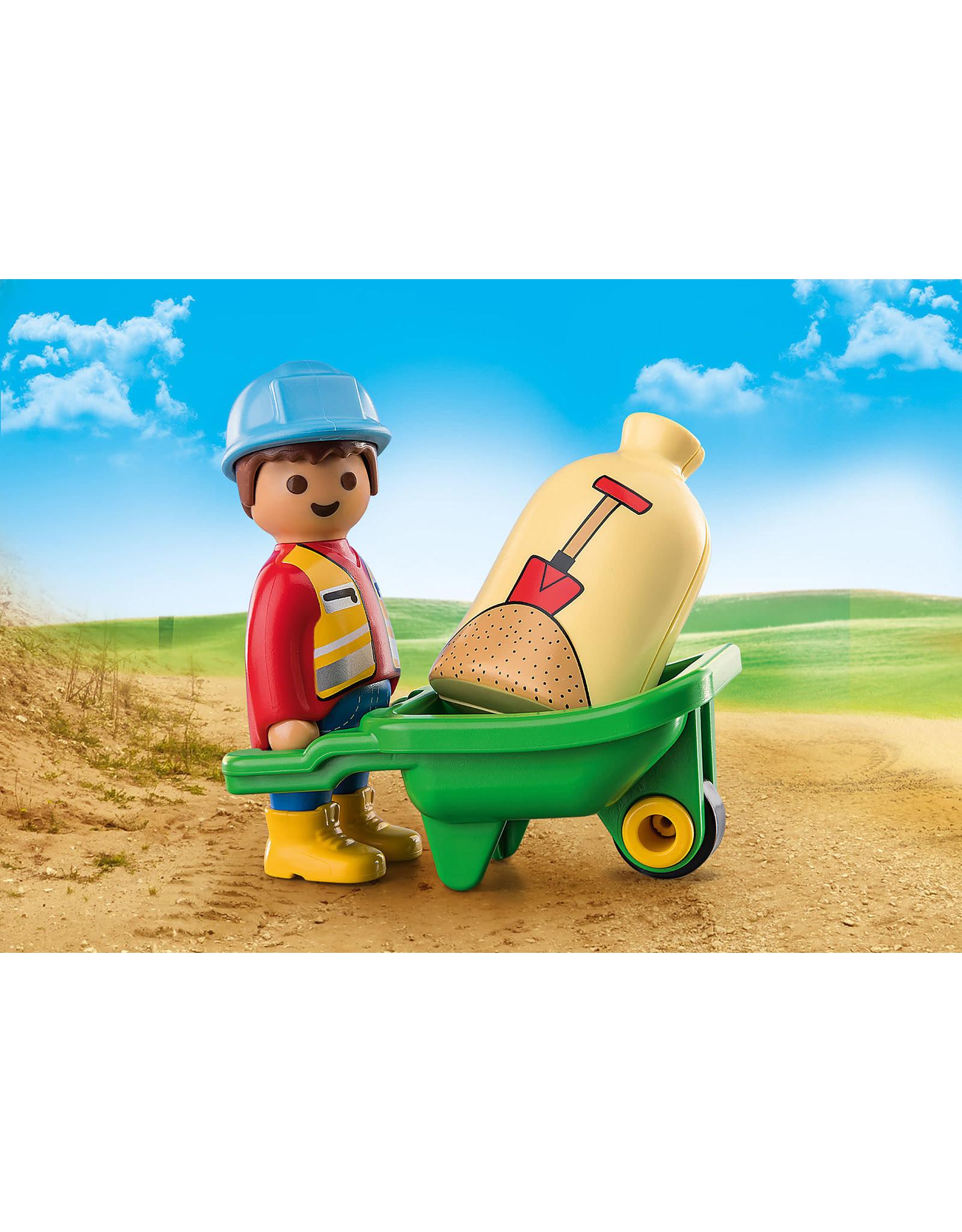 Playmobil 1.2.3 Construction Worker With Wheelbarrow