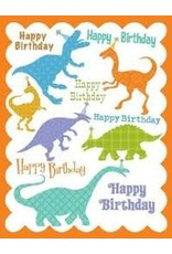 Yellow Bird Paper Greetings Dinosaur Glitter Birthday Card