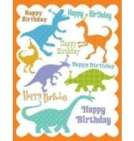 Yellow Bird Paper Greetings Dinosaur Glitter Birthday Card