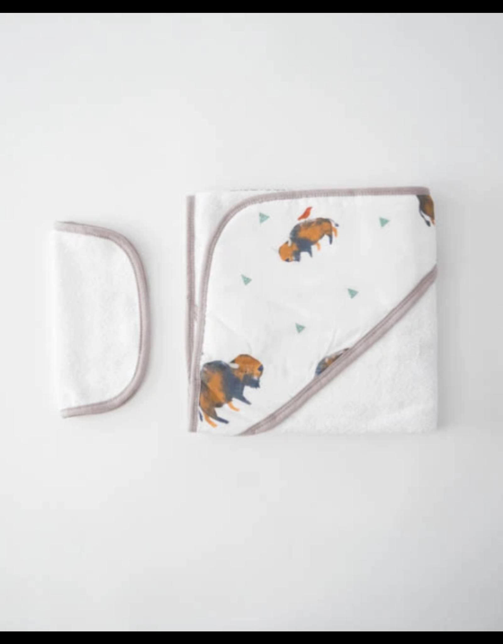 Little Unicorn, LLC Cotton Hooded Towel & Washcloth Set, Bison
