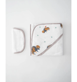 Little Unicorn, LLC Cotton Hooded Towel & Washcloth Set, Bison