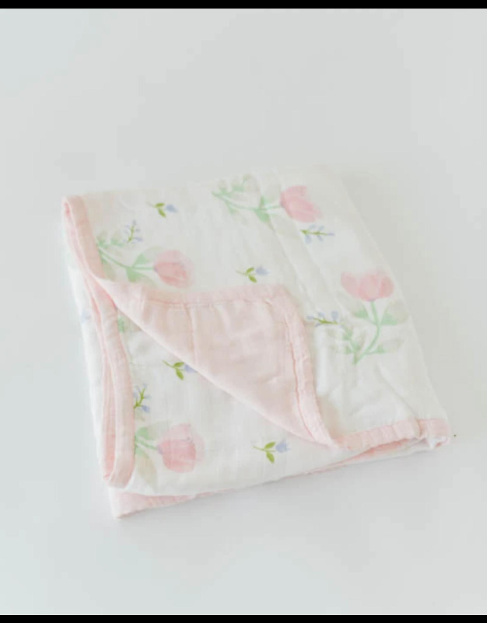 Little Unicorn, LLC Deluxe Muslin Baby Quilt, Pink Peony