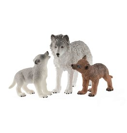 Schleich Motherwolf with Pups