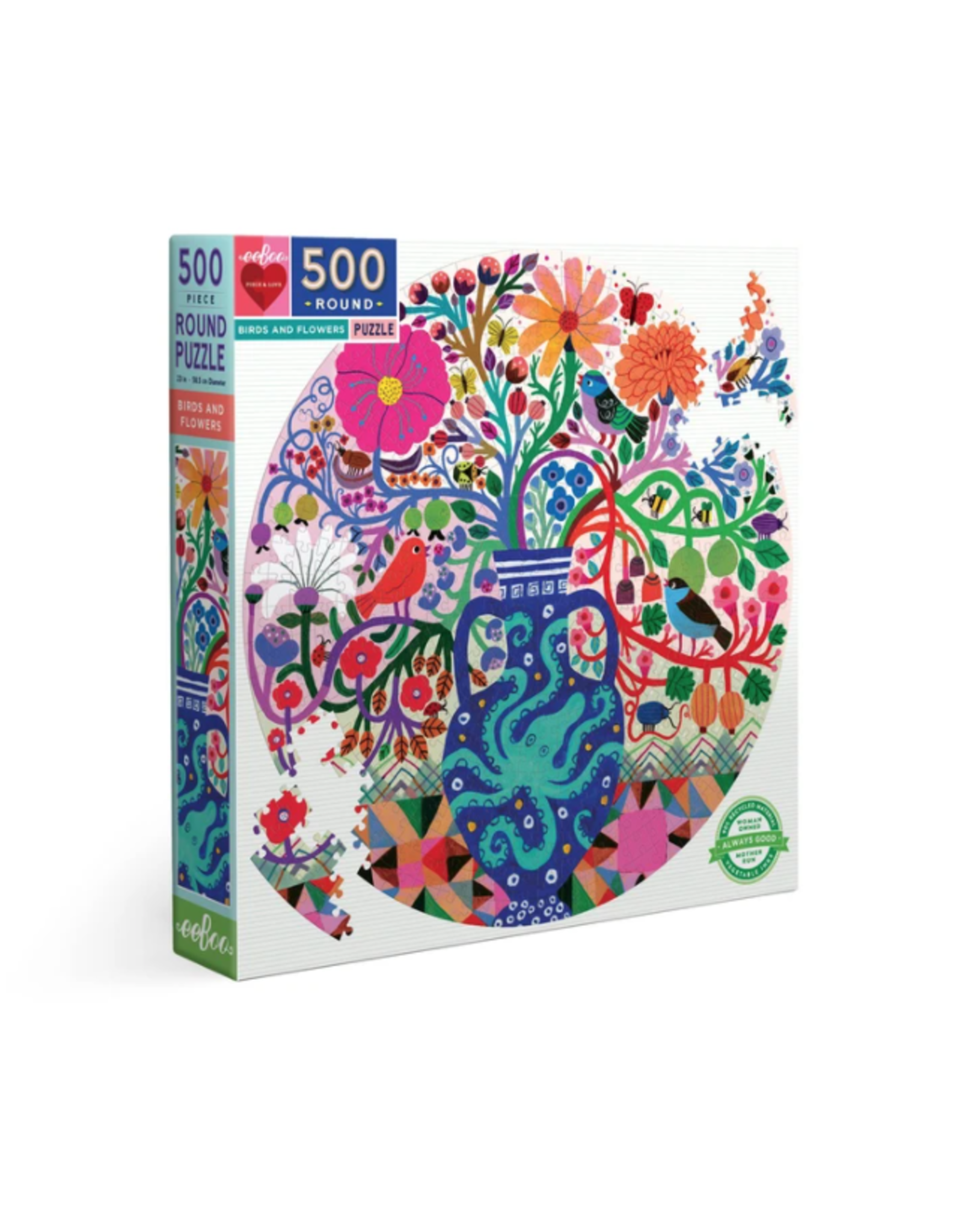 Eeboo 500 pcs. Birds and Flowers Round Puzzle
