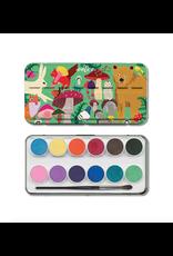 Eeboo 12 Watercolour Paints, Woodlands