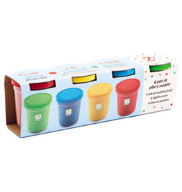 Djeco Modelling Clay, 4 Tubs Primary Colours